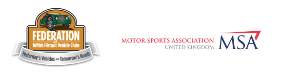 Federation of British historic vehicle clubs logo and MSA Logo.